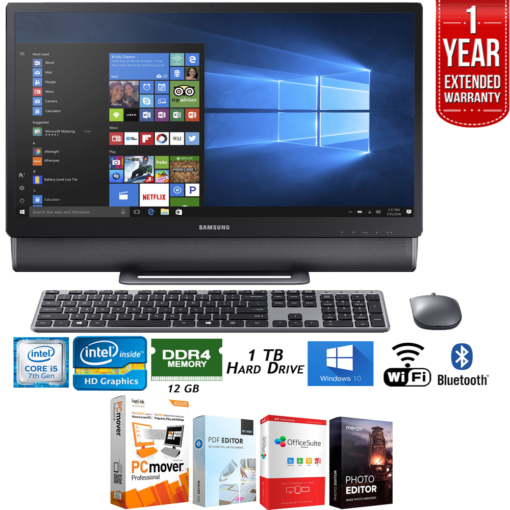 "Samsung DP710A4M-L01US 23.8"" Intel Core i5, 12GB RAM All-in-One TouchScreen Computer + Elite Suite 18 Standard Editing Software Bundle + 1 Year Extended Warranty"