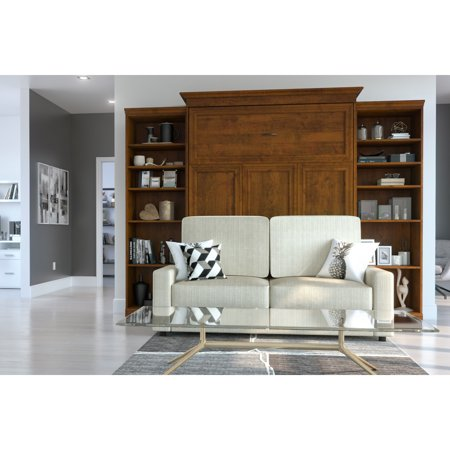 Bestar Versatile 4-Piece Queen Wall Bed, Two Storage Units and Sofa Set - Tuscany Brown &