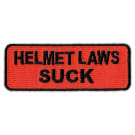 Motorcycle Jacket Embroidered Patch - Helmet Laws Suck - Anti Helmet Laws - 4