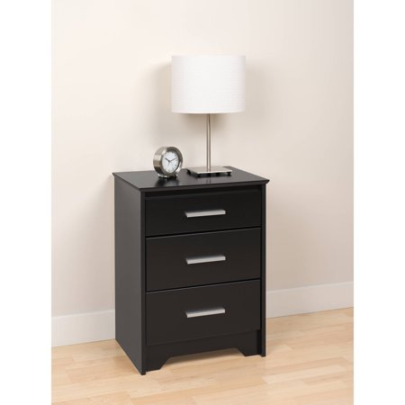 prepac coal harbor tall 3 drawer nightstand in black. Black Bedroom Furniture Sets. Home Design Ideas