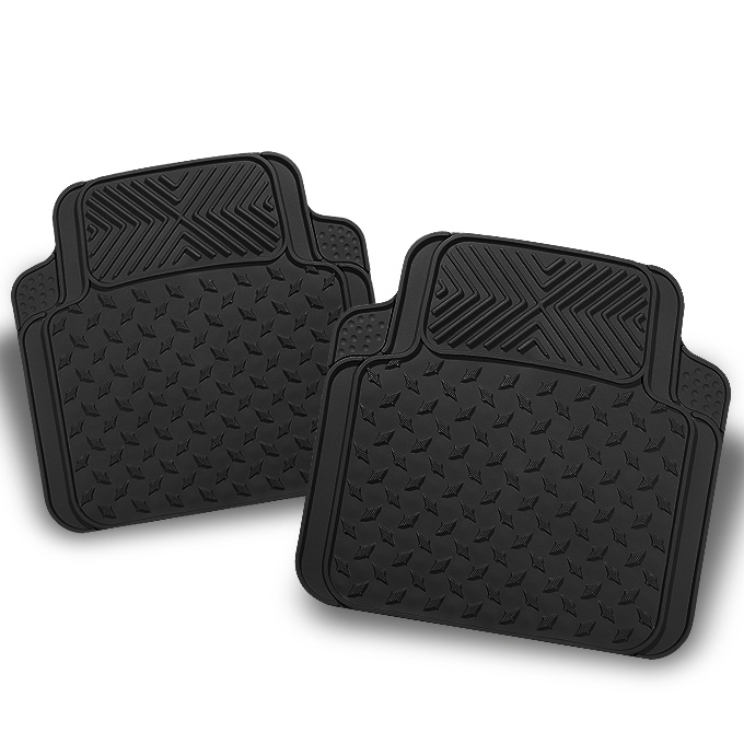 All Weather Metal Style Black Car Rear Floor Mats 2 Pieces Liner Heavy Duty by Artzone