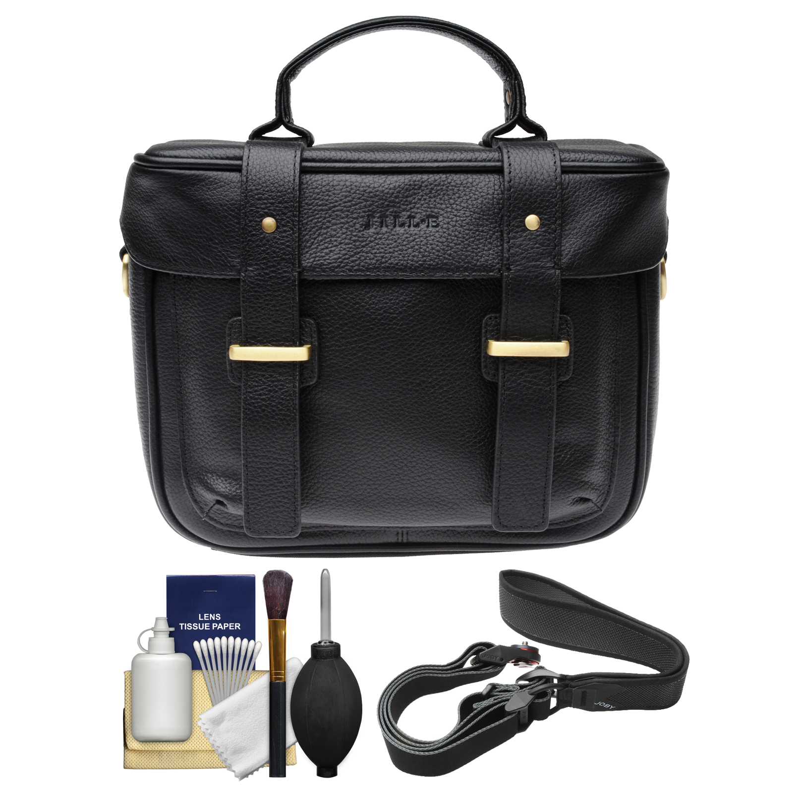 Jill-e Juliette All Leather DSLR Camera Bag (Black) with Camera Strap + Cleaning Kit
