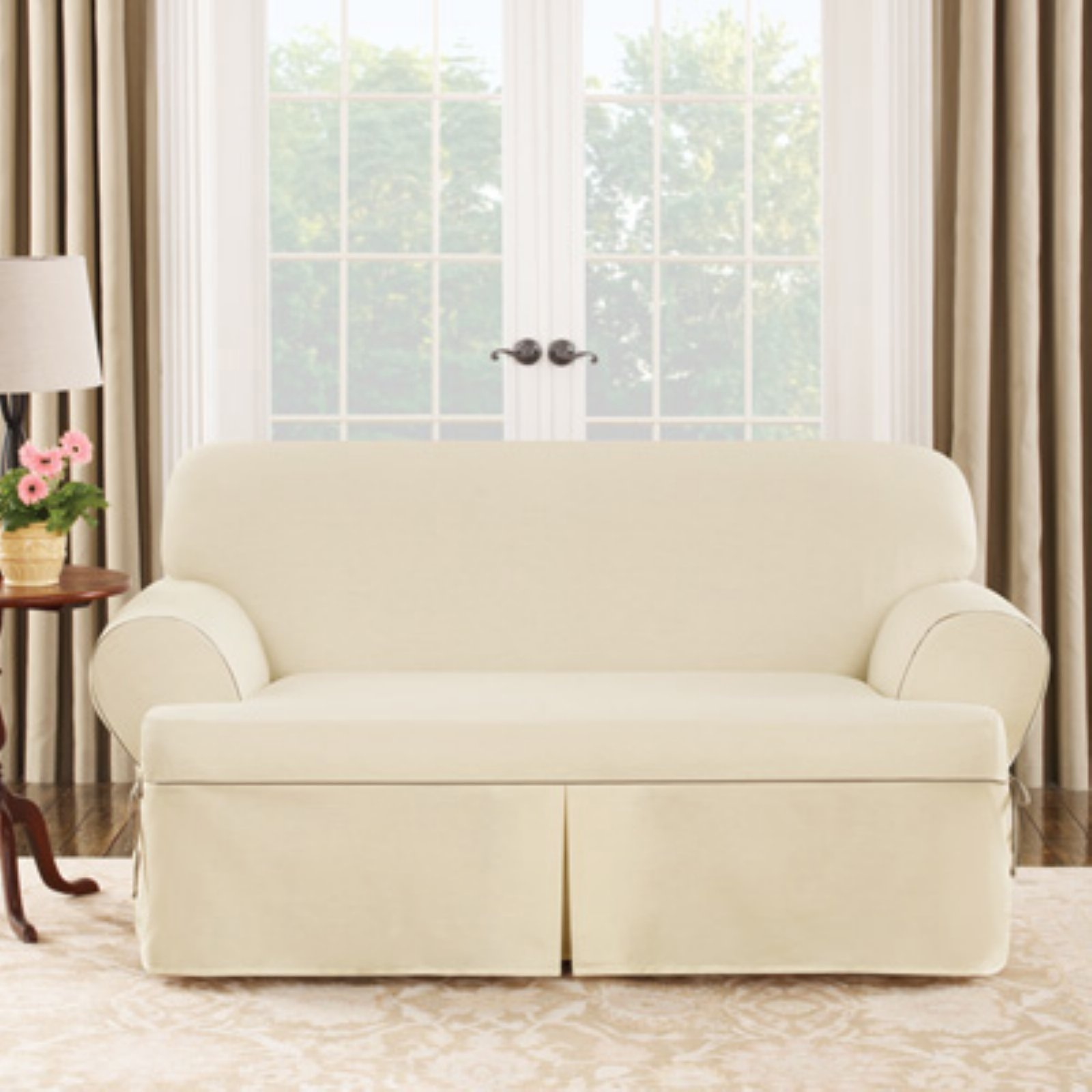 Sure Fit Cotton Duck T-Cushion Loveseat Cover