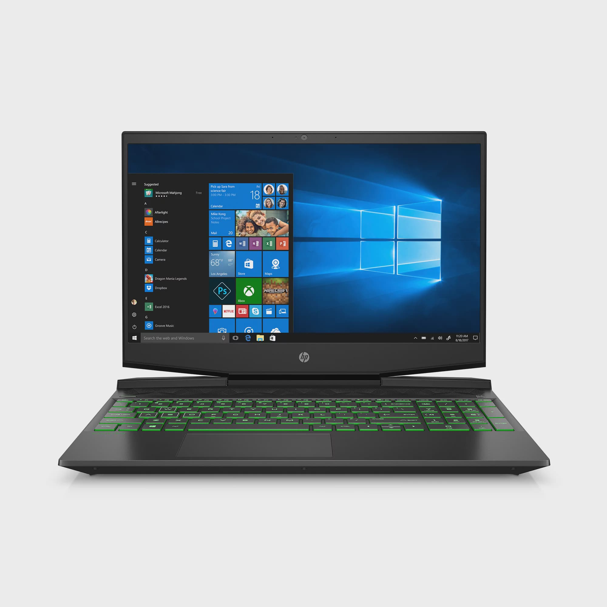 "HP Pavilion 15.6"" FHD Gaming Laptop, Intel Core i5-9300H, NVIDIA GeForce GTX 1050 (3 GB GDDR5), 8GB SDRAM, 256GB SSD, Shadow Black, Acid Green, 15-dk0068wm"