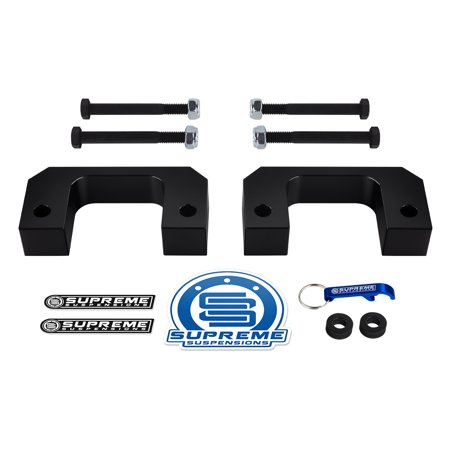 "Supreme Suspensions - Chevy GMC Front Lift Kit 2"" Solid Aircraft Billet Front Lift Spacers (Black) Easy Install GMC Chevy Leveling Kit PRO"