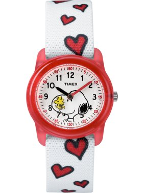 Girls Time Machines x Peanuts: Snoopy & Hearts Watch, Elastic Fabric Strap