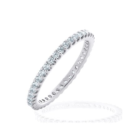 0.50 CT Diamond Eternity Wedding Band in White Gold, 1/2 CT Diamond Stackable Anniversary - Diamond Simulant Eternity Band