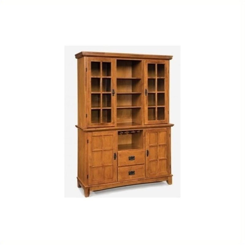 Bowery Hill Wine Rack Buffet with Hutch in Cottage Oak