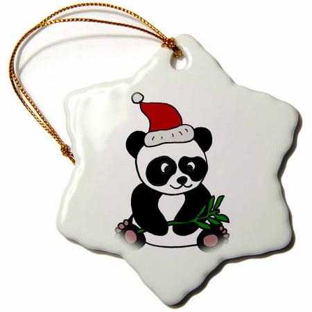 3dRose Funny Panda Bear Wearing Santa Hat Christmas Art, Snowflake Ornament, Porcelain, 3-inch