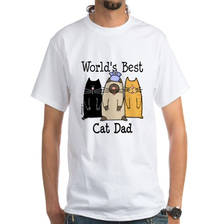 CafePress - World's Best Cat Dad White T Shirt - Men's Classic (Best Looking Cat In The World)