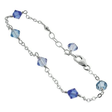Sterling Silver Swarovski Elements Blue Bicone Crystal Ankle Bracelet