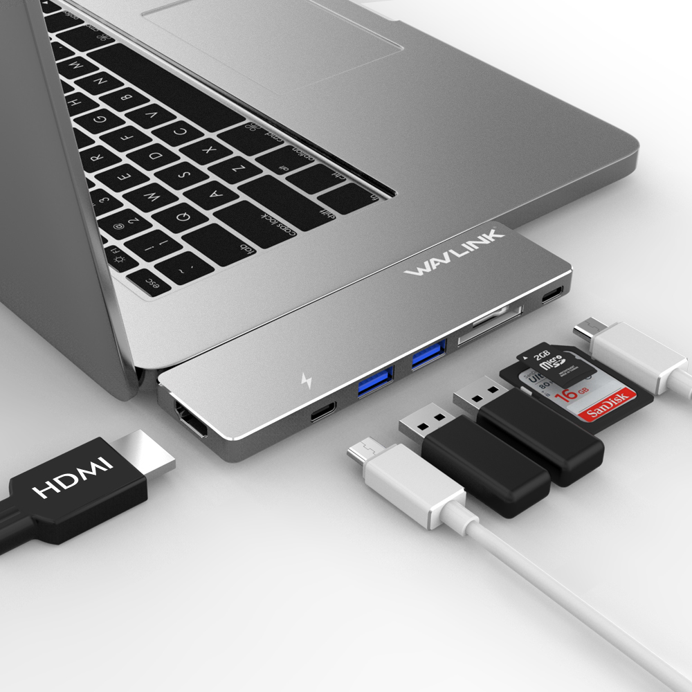 """USB-C Hub Adapter, Aluminum Multi-port USB-C Mini Dock for 2016/2017 MacBook Pro 13"""" and 15"""", 40Gb/s, 4K HDMI, Pass-Through Charging, SD/Micro SD Card Reader and 2 USB 3.0 Ports"""