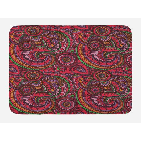 Asian Bath Mat, Pattern Based on Traditional Asian Vintage Stylized Twists Lines Spirals, Non-Slip Plush Mat Bathroom Kitchen Laundry Room Decor, 29.5 X 17.5 Inches, Dark Coral Orange Green, -
