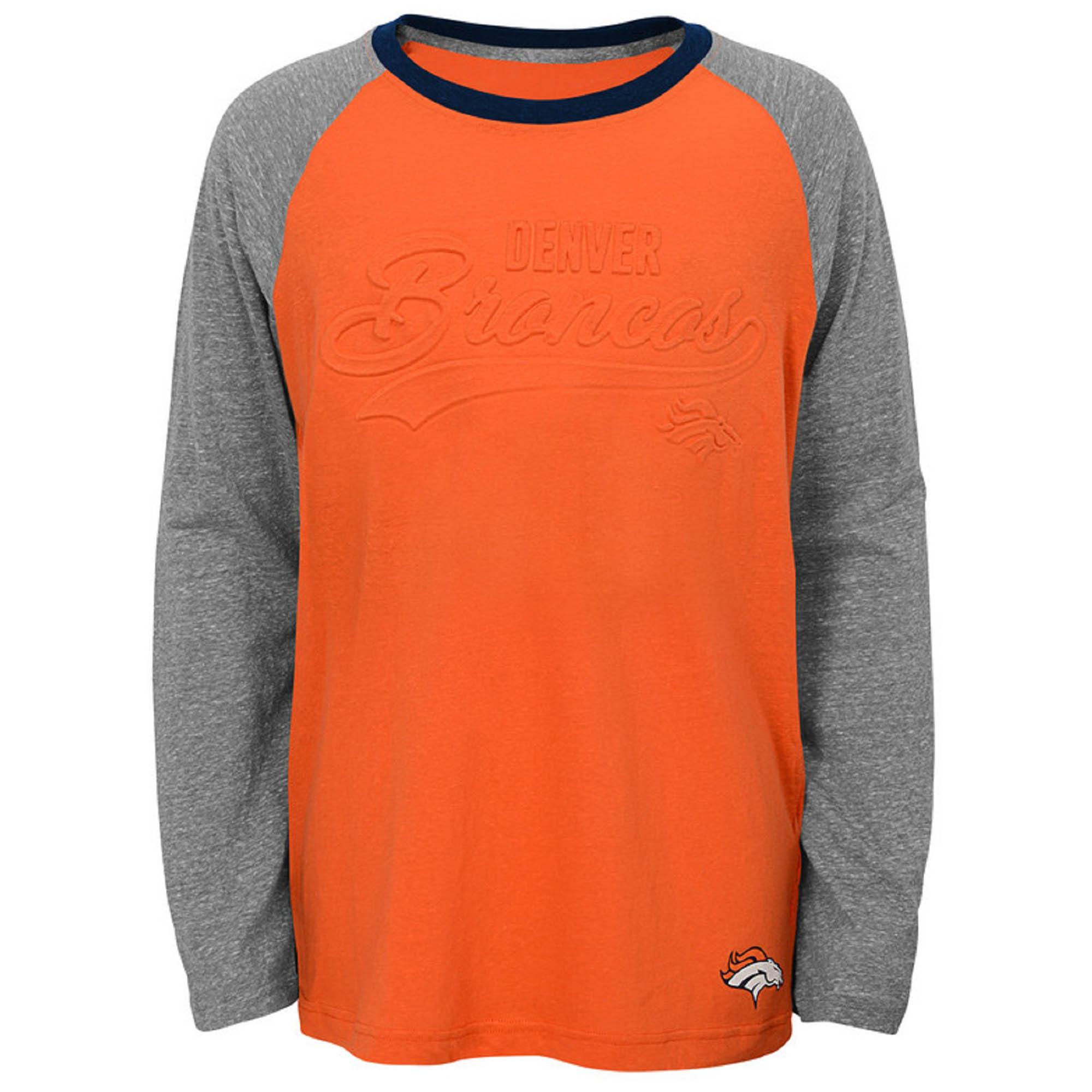 Youth Orange Denver Broncos Long Sleeve Raglan T-Shirt