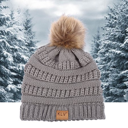 Yosoo 6 Colors Fashionable Knitted Cap Faux Raccoon Fur Pompom Winter Hat For Keeping Warm, Lady Hat, Women - Raccoon Skin Hat
