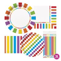 Rainbow Party Tableware Kit for 16 Guests - Rainbow Party Supplies