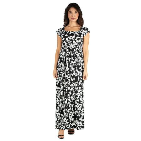 3ba4f30b3183 24seven Comfort Apparel - 24seven Comfort Apparel Black Floral Cap Sleeve  Empire Waist Maxi Dress - Walmart.com