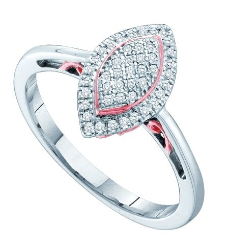 10K White Gold 0.15CT Elegant Micro Pave Round Cut Diamond Marquise Fashion Ring