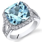 6.25 Ct Swiss Blue Topaz Engagement Ring in Rhodium-Plated Sterling Silver