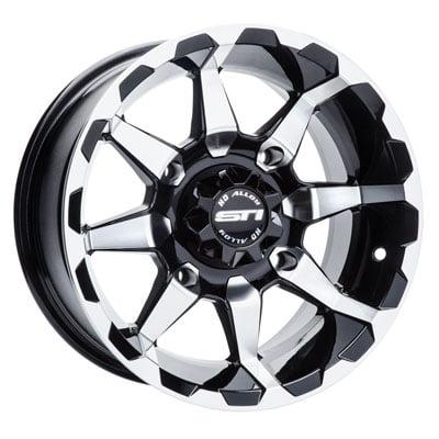 4/110 STI HD6 Alloy Wheel 14x7 5.0 + 2.0 Machined/Black for Yamaha GRIZZLY 700 4x4 2007-2018 ()