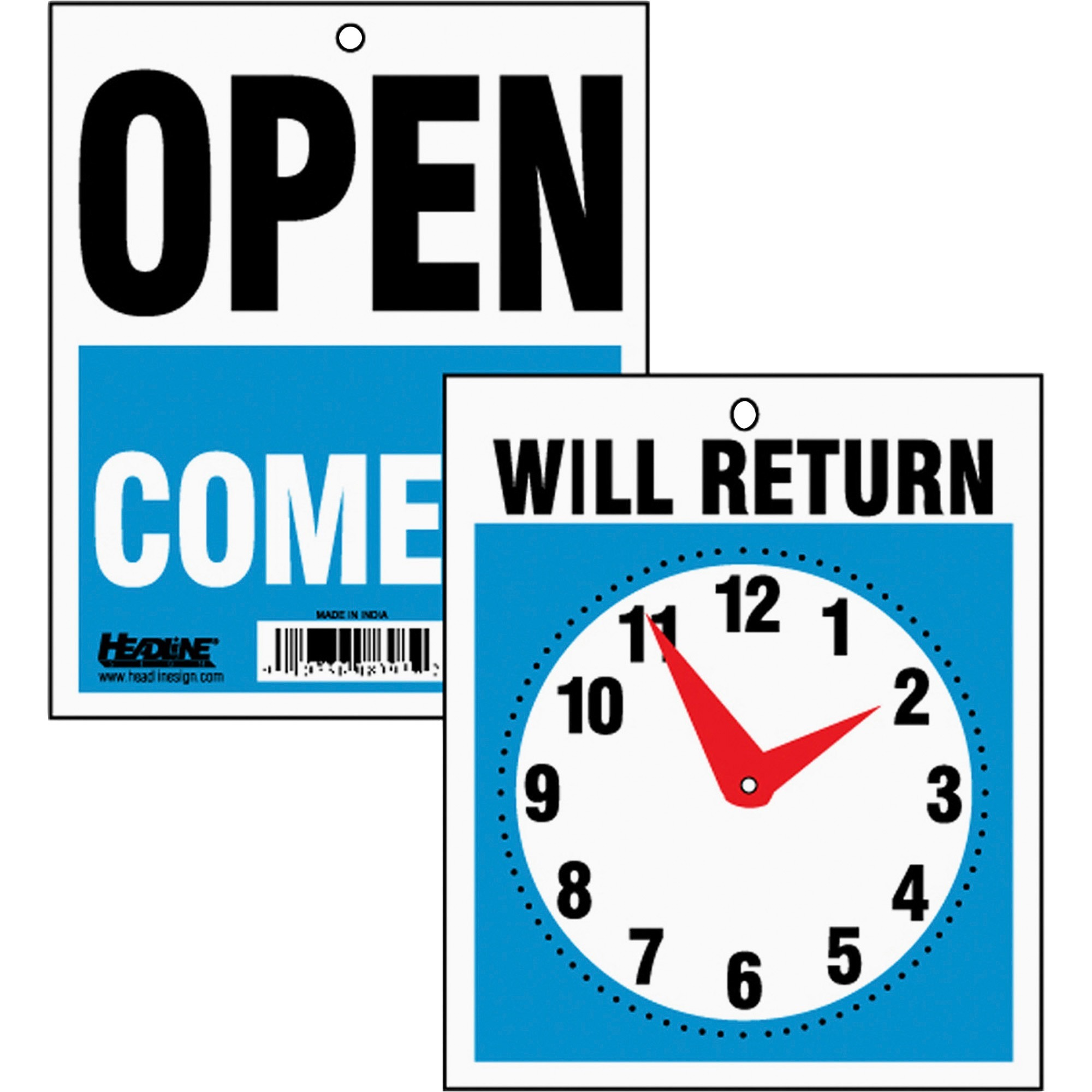 HeadLine Will Return Clock Hands Signs, Blue Background, Red Clock Hands, 1 Each (Quantity)