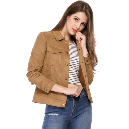 Unique Bargains Women's Faux Suede Trucker Jacket (Size XS / 2) Brown