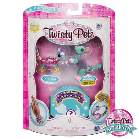 Twisty Petz - 3-Pack - Pixie Mouse, Radiant Roo and Surprise Collectible Bracelet Set for - 3 Pack Rubber Bracelet Wristbands
