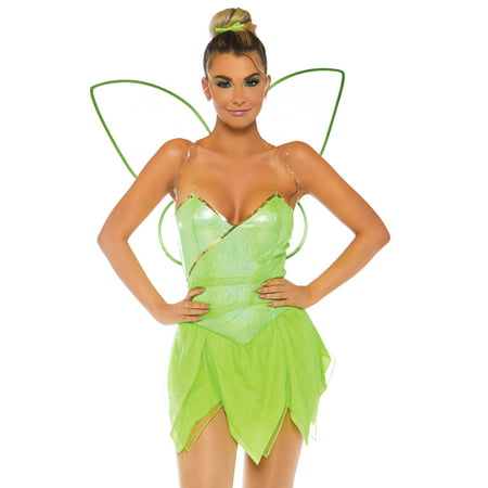 Leg Avenue Women's 4 PC Tinkerbell Pixie Costume, Green, - Tinkerbell Adult Onesie