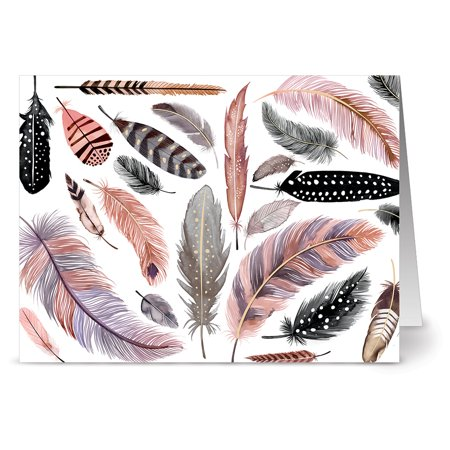 - 24 Note Cards - Feather Motif on White - Blank Cards - Gray Envelopes Included