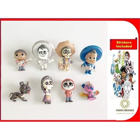 - HIMEX BRANDS 8X Coco Cake Topper Figures Toy Set Miguel Hector Imelda Dante Ernesto free stickers included
