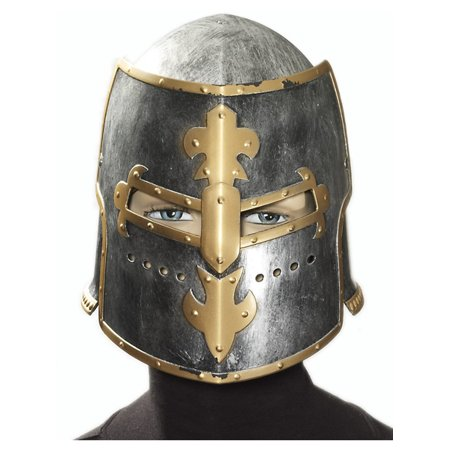Forum Medieval Fantasy Full Head Costume Helmet, Silver Yellow, One-Size