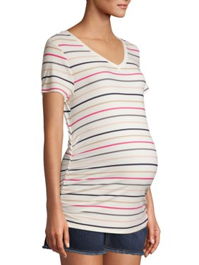 Time and Tru Maternity Basic Short Sleeve Striped T-Shirt