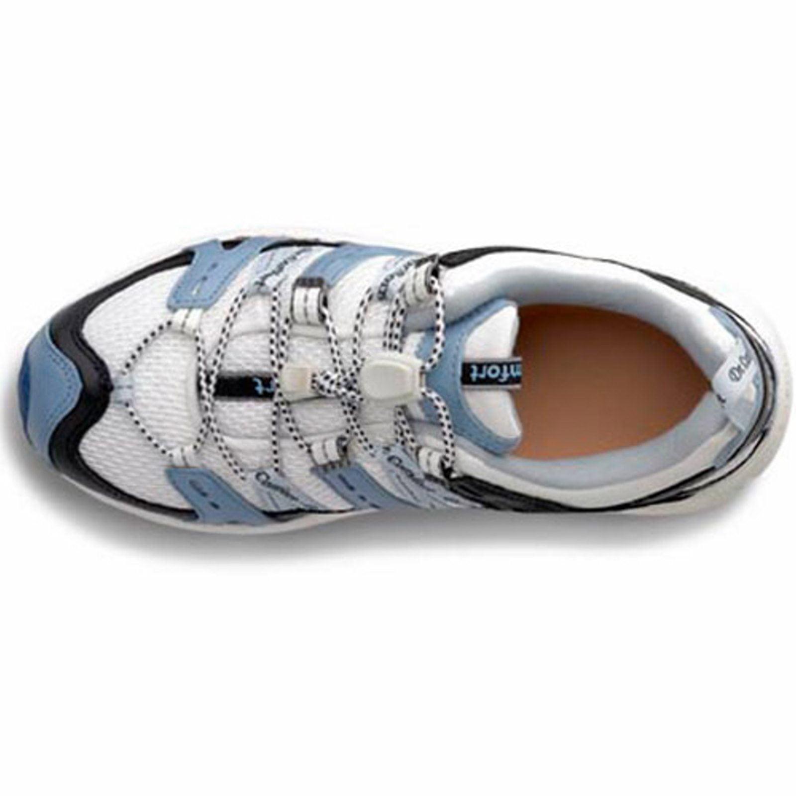 Dr. Comfort Refresh-X Women's Athletic Shoe: 9 Wide (W/2E) White/Blue Elastic & Standard Laces