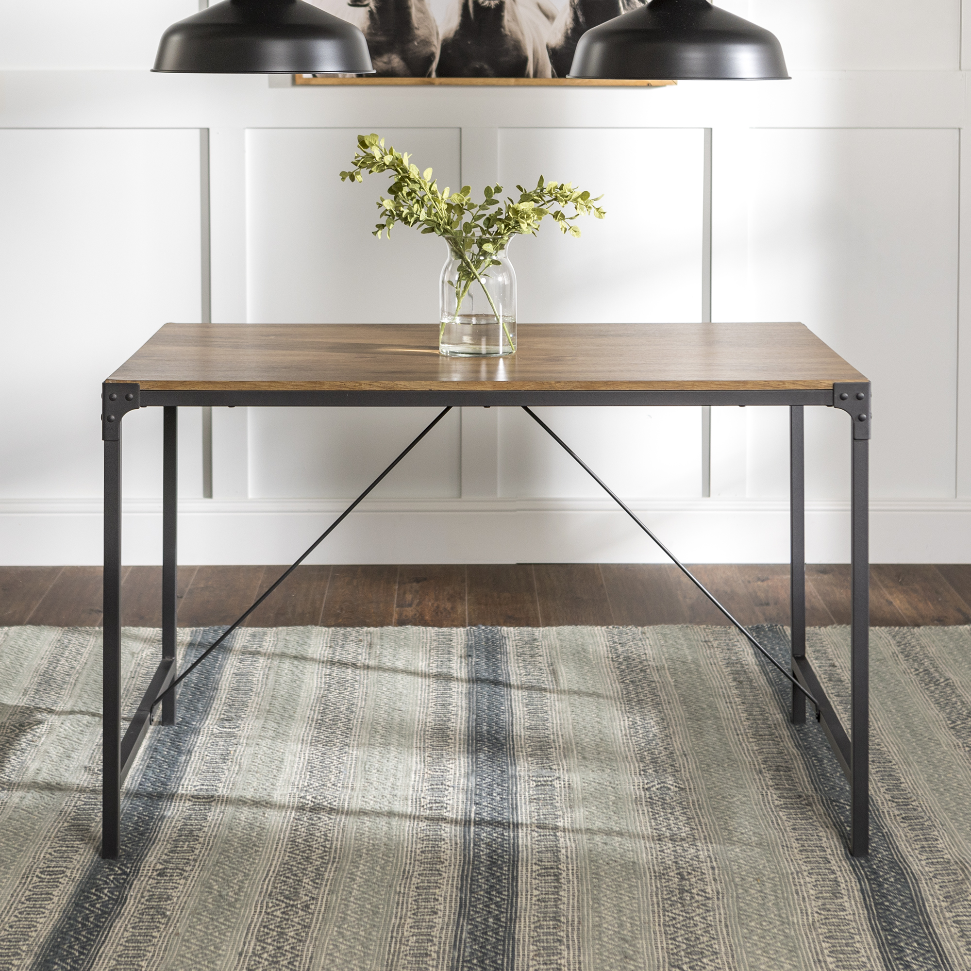 Mainstays Atmore Industrial Metal And Wood Dining Table