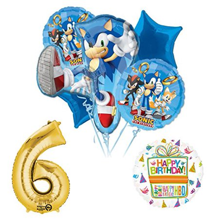 Sonic The Hedgehog 6th Birthday Party Supplies and Balloon Decorations