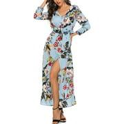 Summer Boho Maxi Dresses for Women Casual Floral Flowy Long Dress V Neck Button Down Beach Sundress Ladies Fashion Split Wrap Dress
