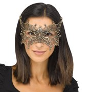 Fun World Halloween Gothic Lace Bat Costume Venetian Mask, One-Size, Gold