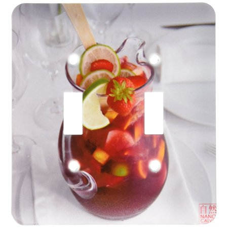 3dRose Jar of cool typical Spanish summer drink, Sangria, made of wine, fruits, brandy or other liquor, Double Toggle Switch