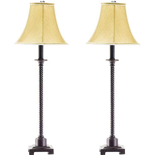 Metal Shade Buffet Lamp: Set Of 2 Buffet Lamps, Metal With Fabric Shades