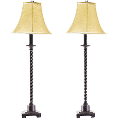 set of 2 buffet lamps metal with fabric shades