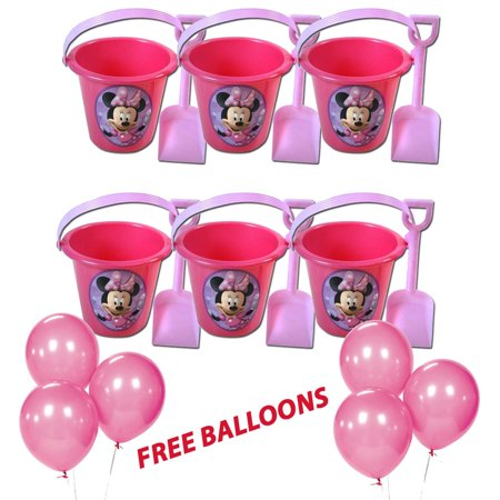 6pc Minnie Mouse Sand Bucket & Shovel Birthday party Favor Gift W/Free Balloons](Minnie Mouse 2nd Birthday Decorations)