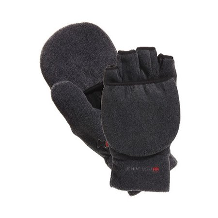 manzella cascade convertible gloves, large, charcoal