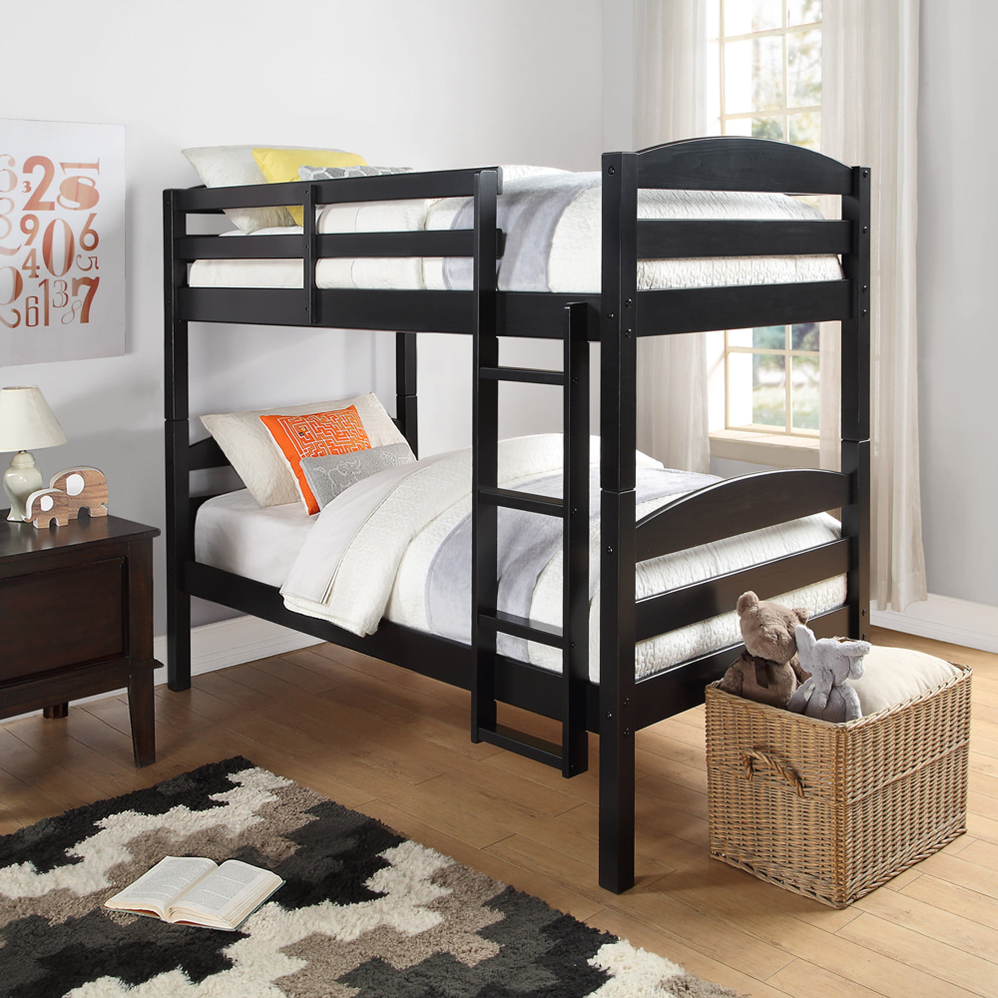 Twin Size Bunk Bed Convertible Wood Ladder Black Finish