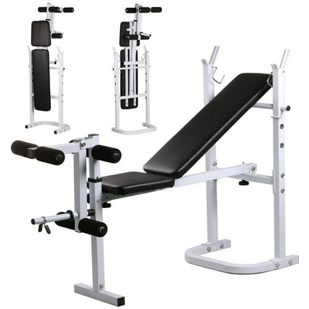 Zimtown Folding Lifting Weight Bench Stand, with Leg Developer, Flat Incline Posion, for Home Gym Abdominal Strength Fitness Exercise