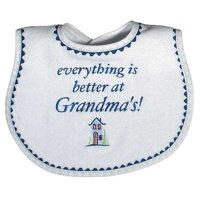 "Raindrops Baby Boys ""Everything Is Better At Grandma""S"" Embroidered Bib, Royal"