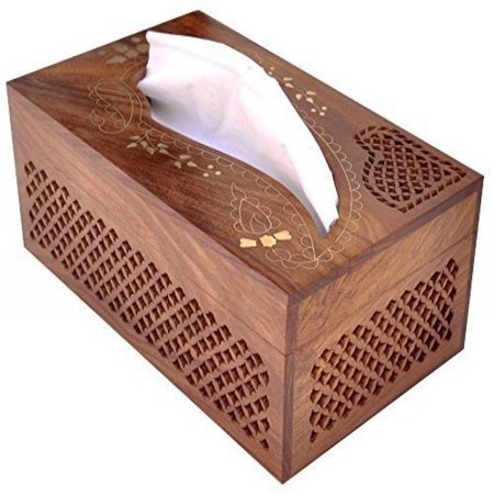 Wooden Tissue Box Cover With Br Inlay Kleenex