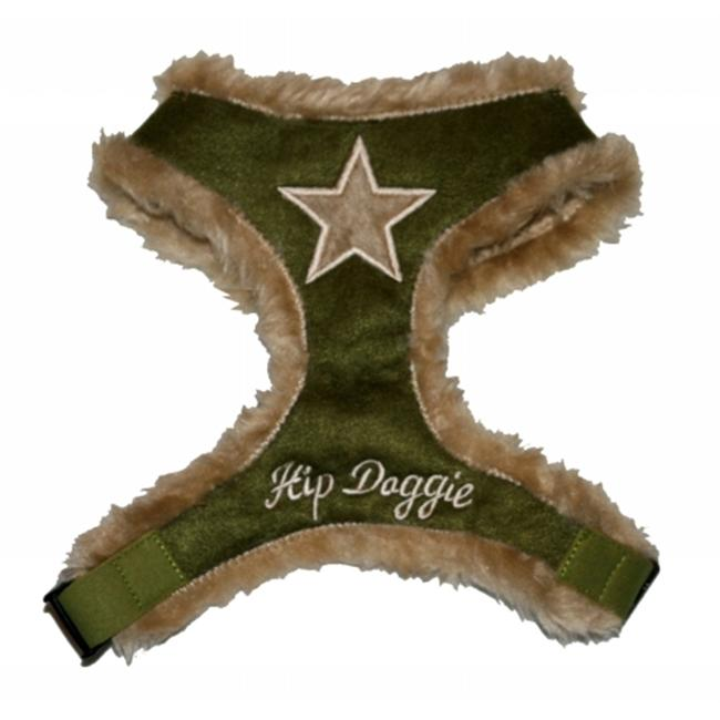 Hip Doggie HD-6OFSH-XS Extra Small Olive Synthetic Fur Star Harness Vest