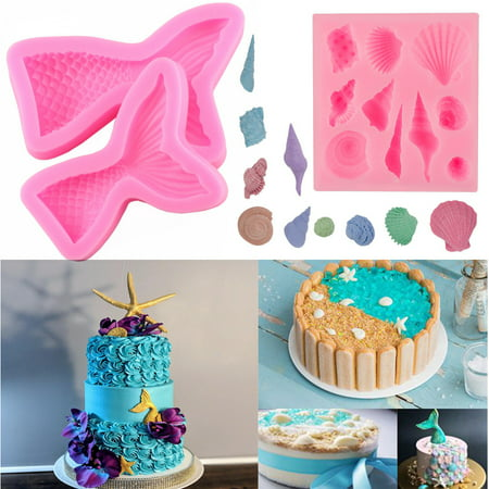 Seashell Mold Mermaid Tail Mold Silicone Fondant Mold Chocolate Mold Decor Cakes