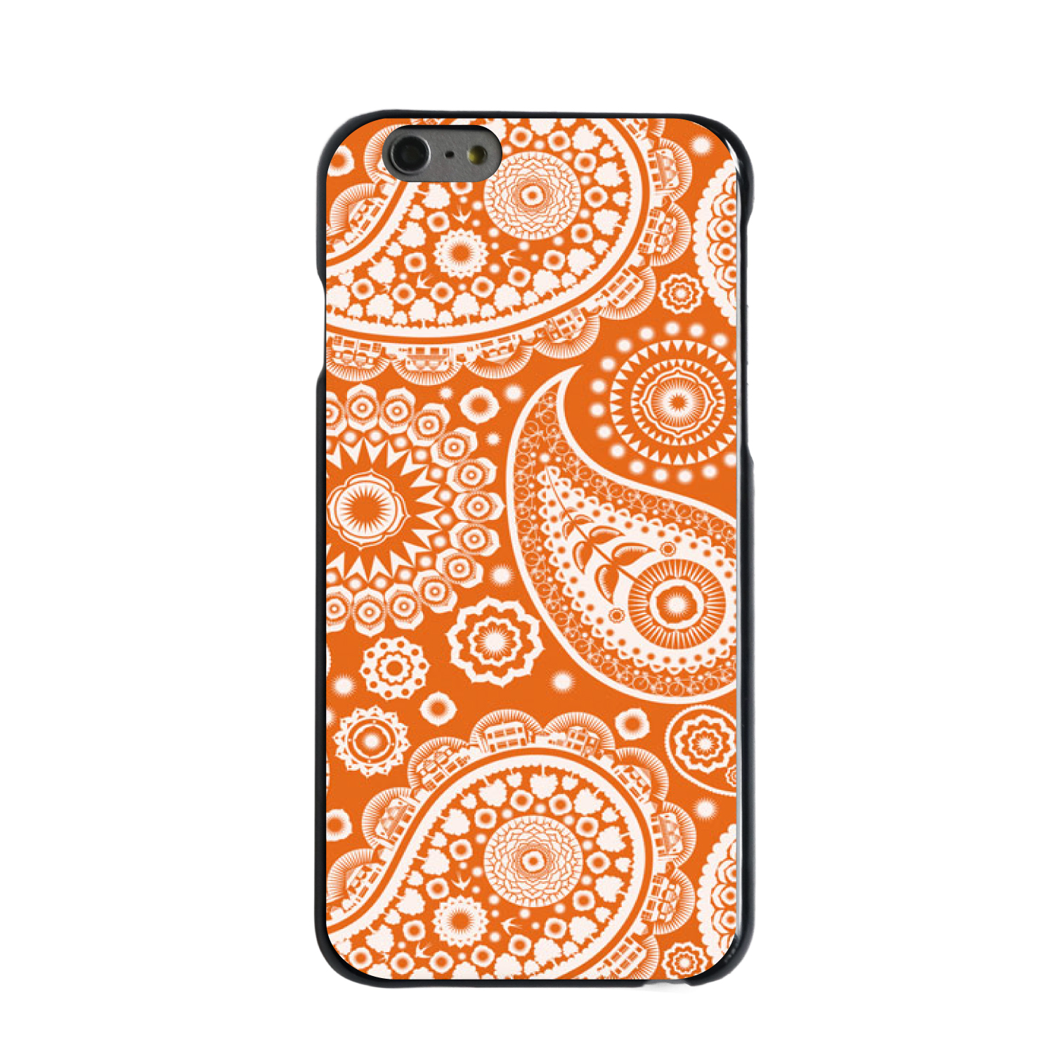 "CUSTOM Black Hard Plastic Snap-On Case for Apple iPhone 7 / iPhone 8 (4.7"" Screen) - Orange White Paisley"