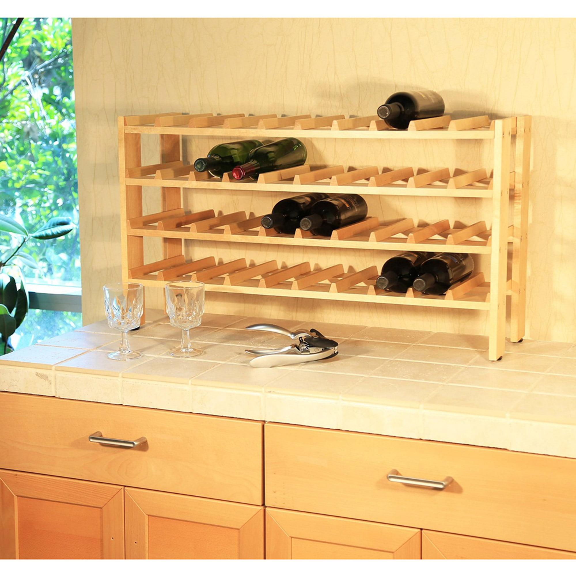 Seville Classics 40-Bottle Birchwood Wine Rack, FRN04714 - Walmart.com